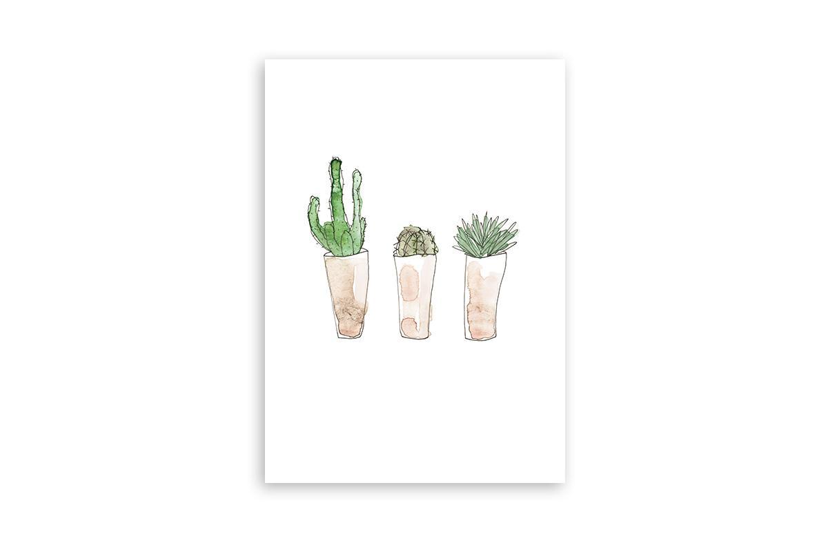 "Postkarte Greenery Aquarell ""Kaktusliebe"""