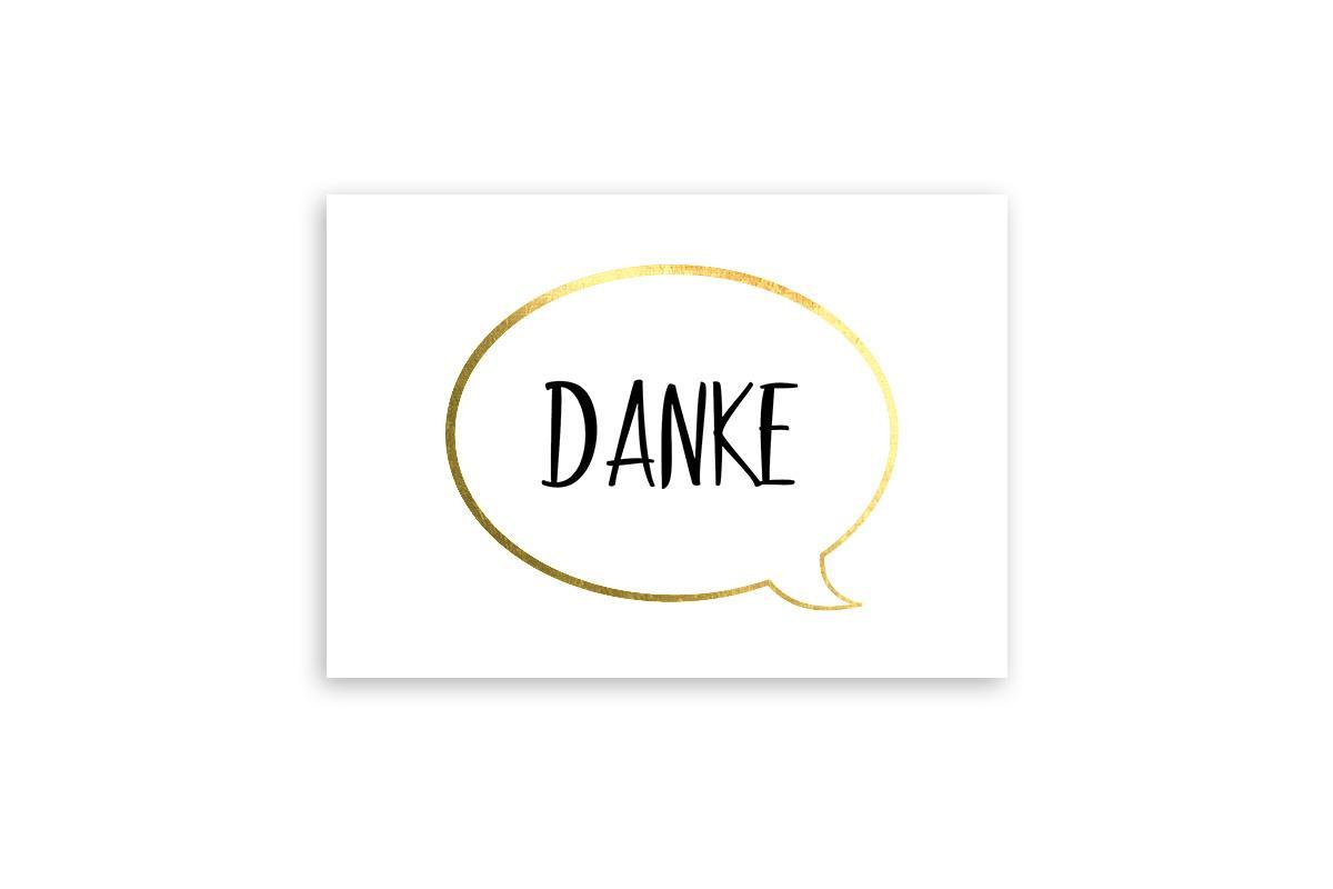 """Postkarte Goldstücke veredelt """"Danke"""""""