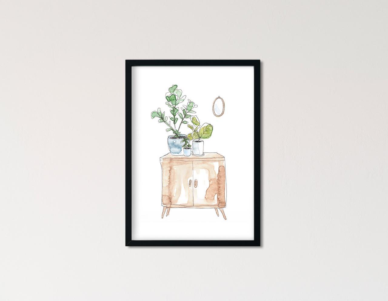 "Poster Greenery Aquarell ""Interior"""