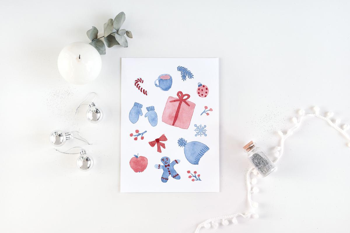 """Postkarte Weihnachten """"Wimmelbild Winteraccesoires"""""""