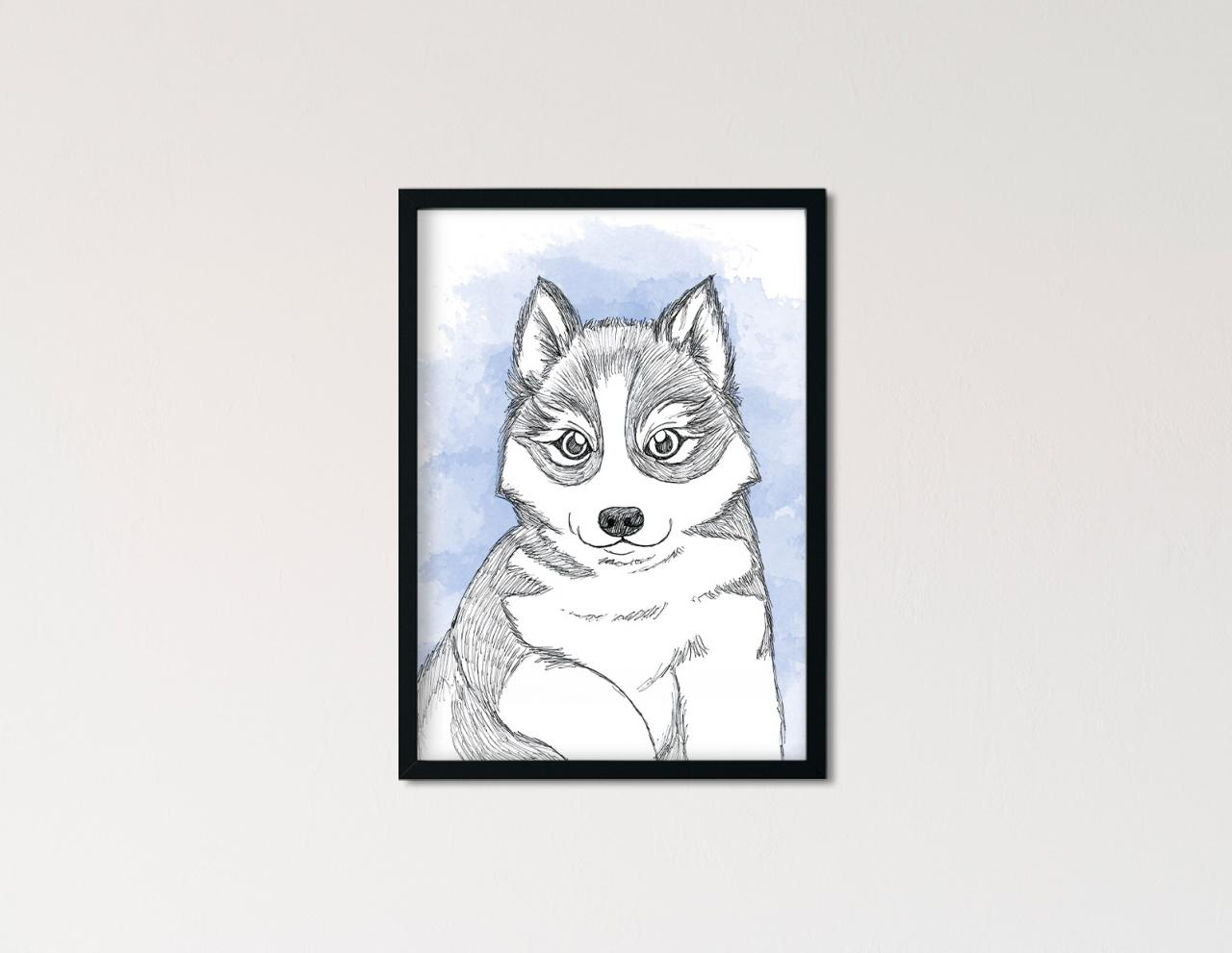"Poster Lieblingstiere Aquarell ""Husky"""