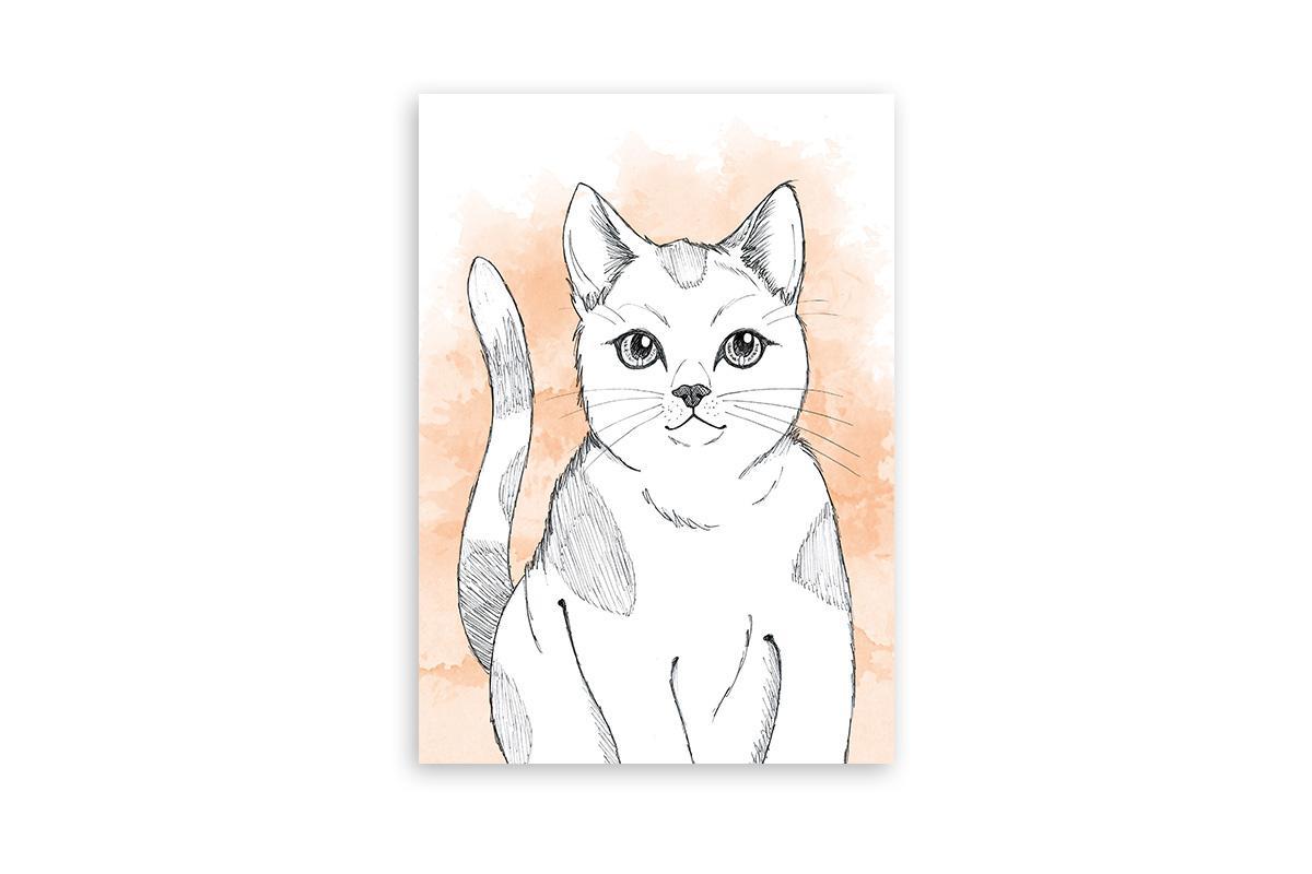 """Postkarte Lieblingstiere Aquarell """"Katze"""""""