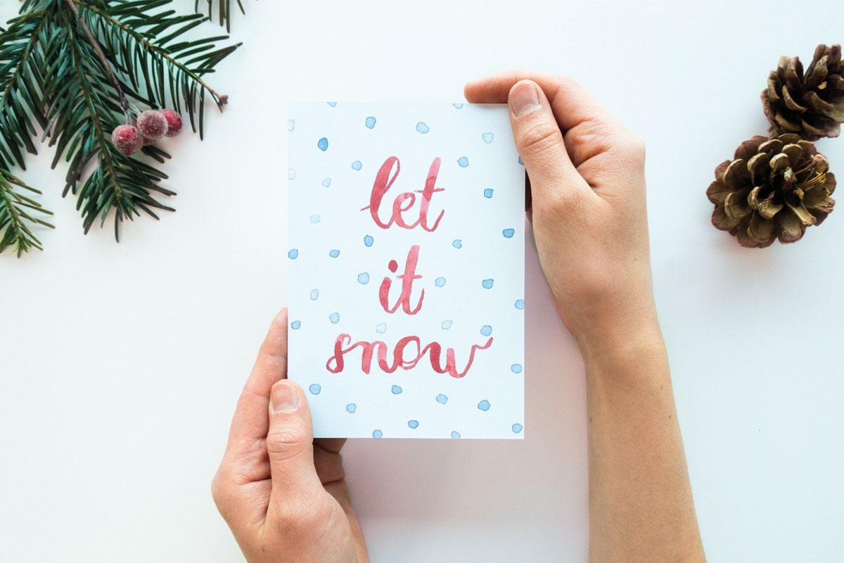 "Postkarte Weihnachten ""let it snow"""