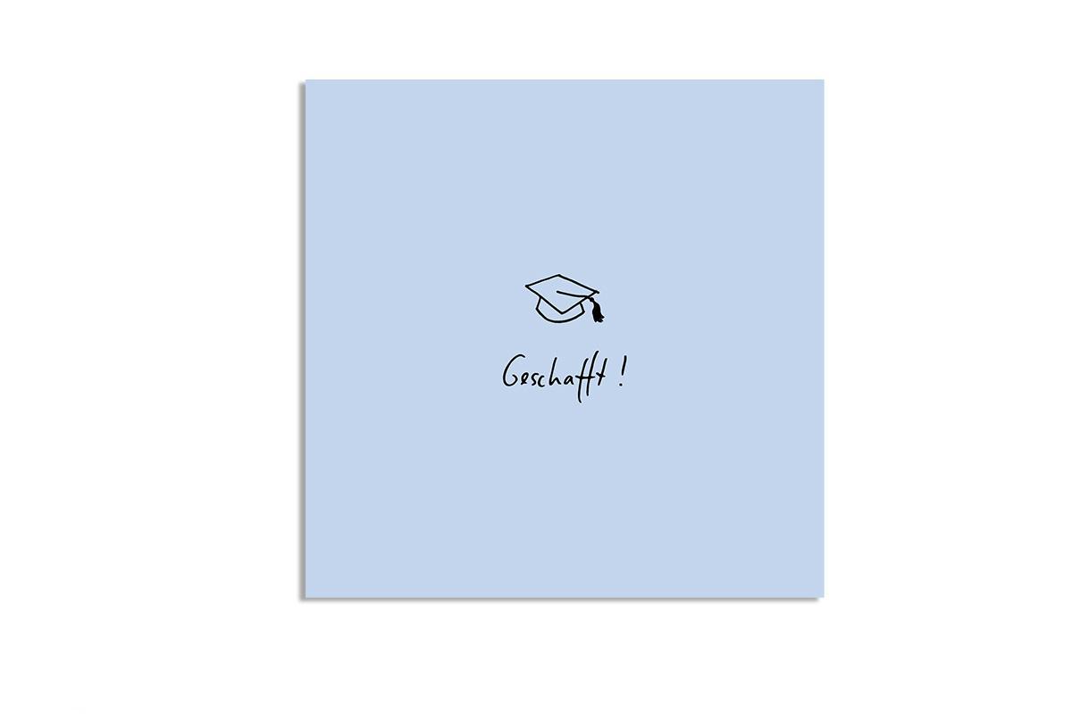 """Postkarte Pastell quadratisch """"Geschafft"""""""