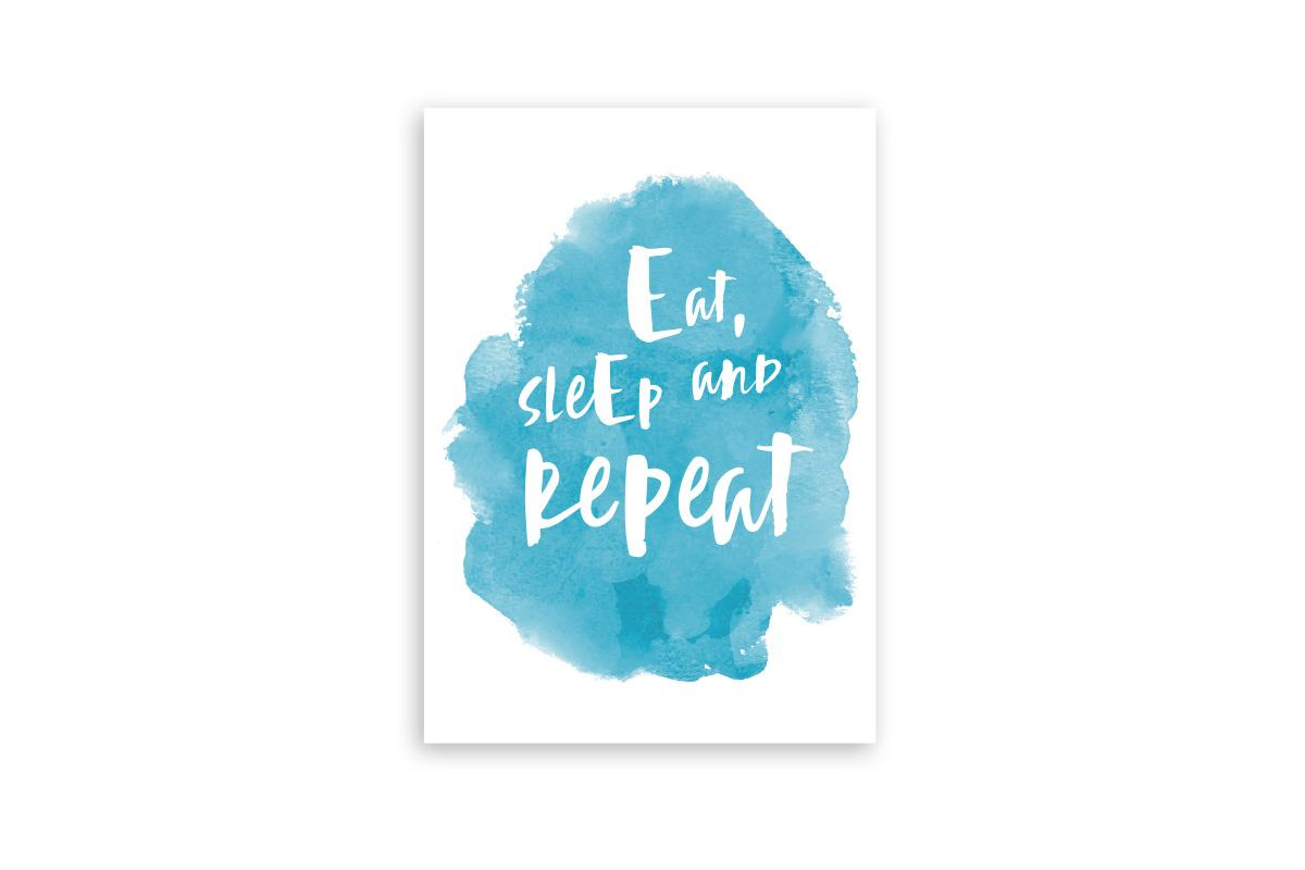 "Postkarte Handlettering ""Eat, sleep and repeat"""