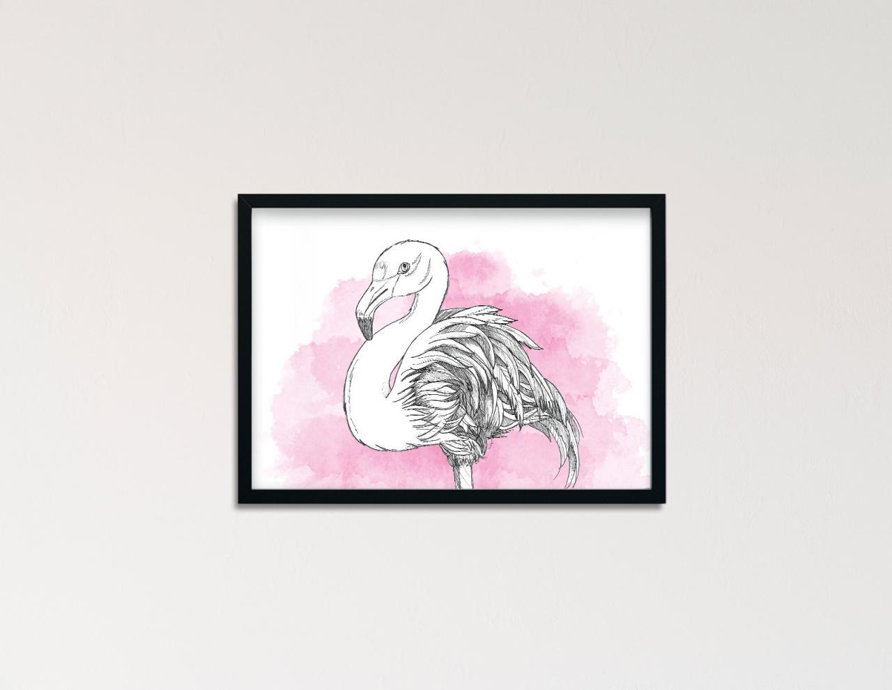 "Poster Lieblingstiere Aquarell ""Flamingo"""