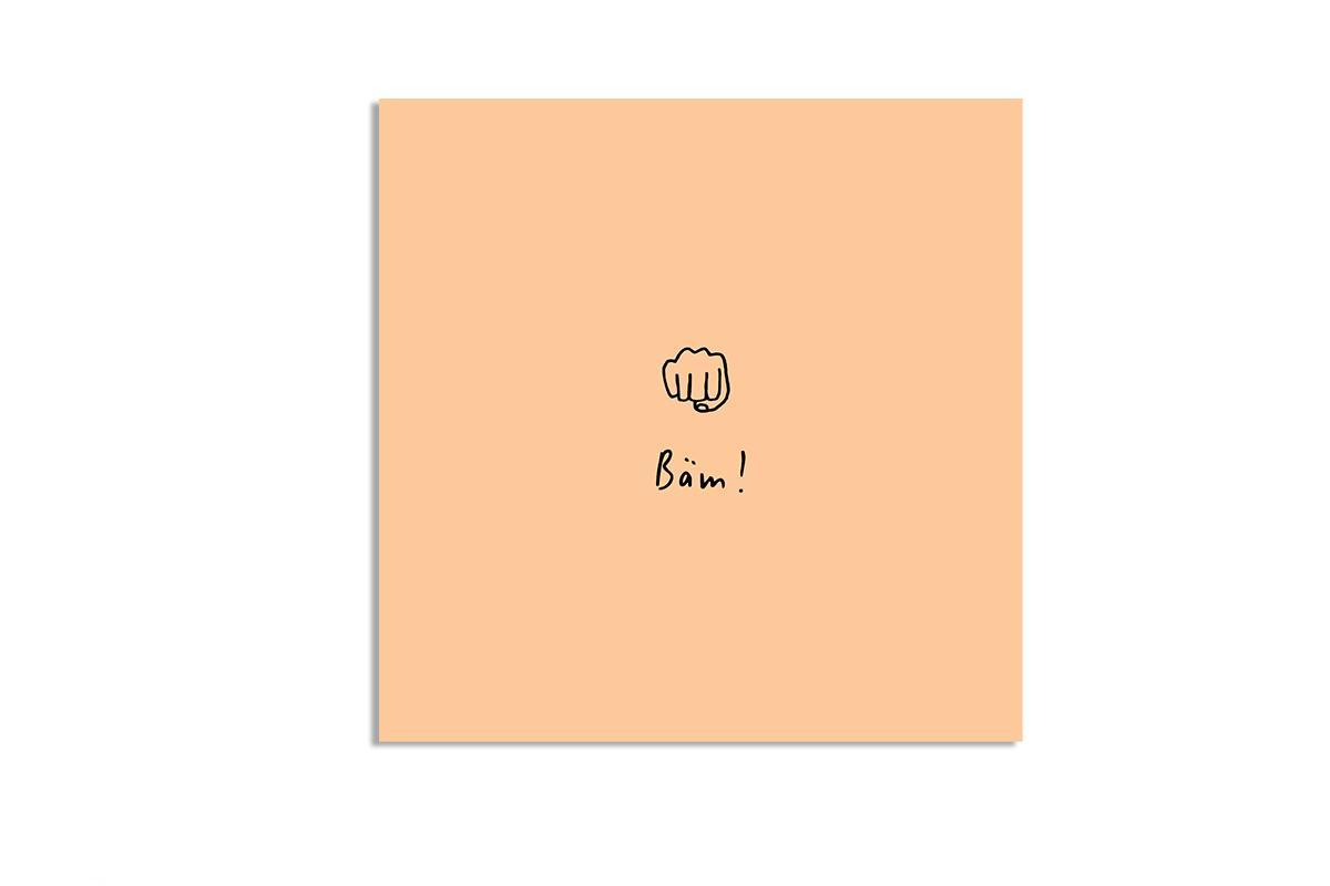 """Postkarte Pastell quadratisch """"Bäm"""""""