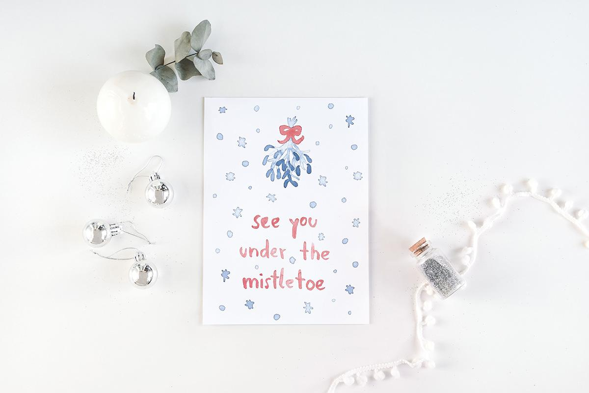 "Postkarte Weihnachten ""meet me under the mistletoe"""