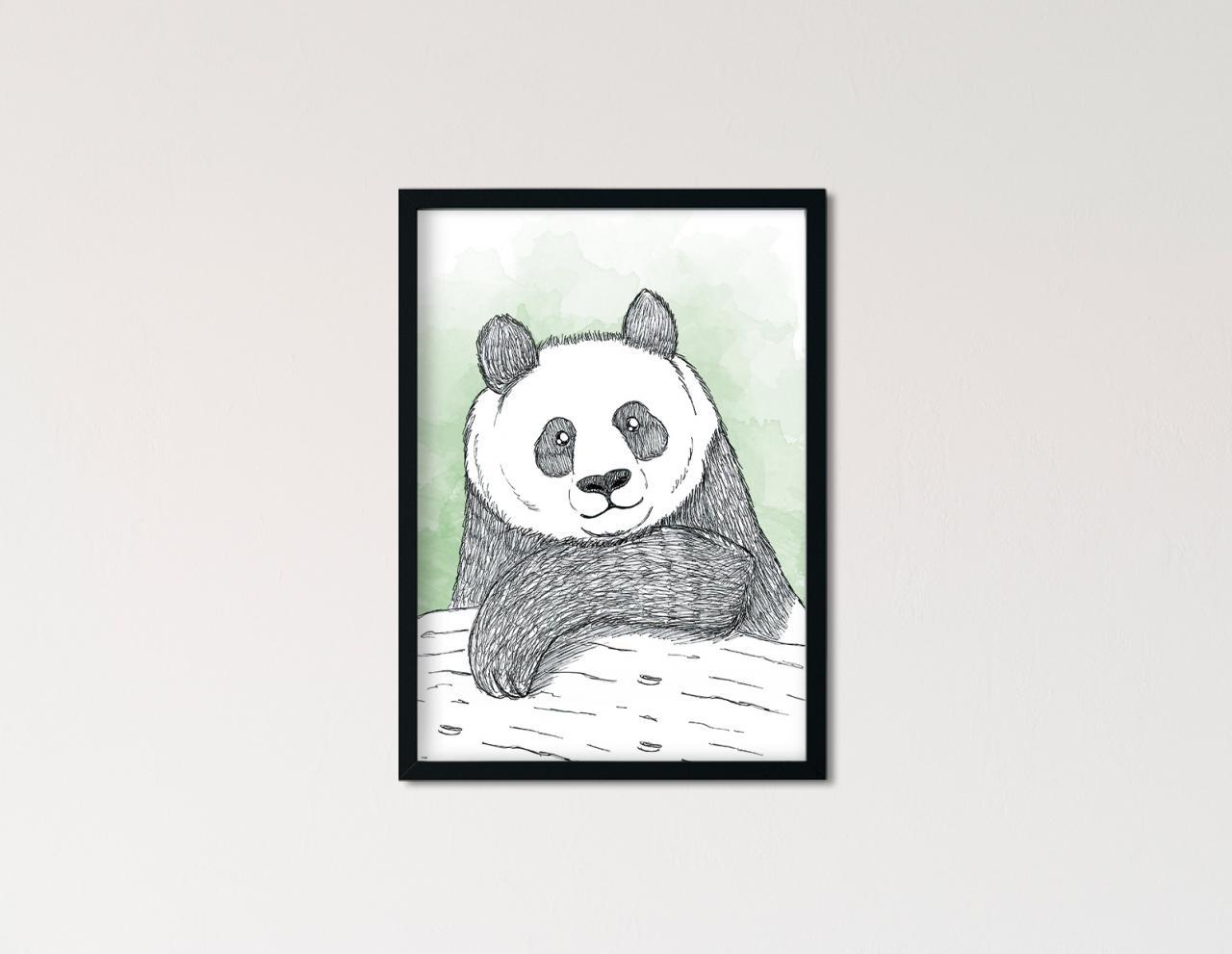 "Poster Lieblingstiere Aquarell ""Panda"""