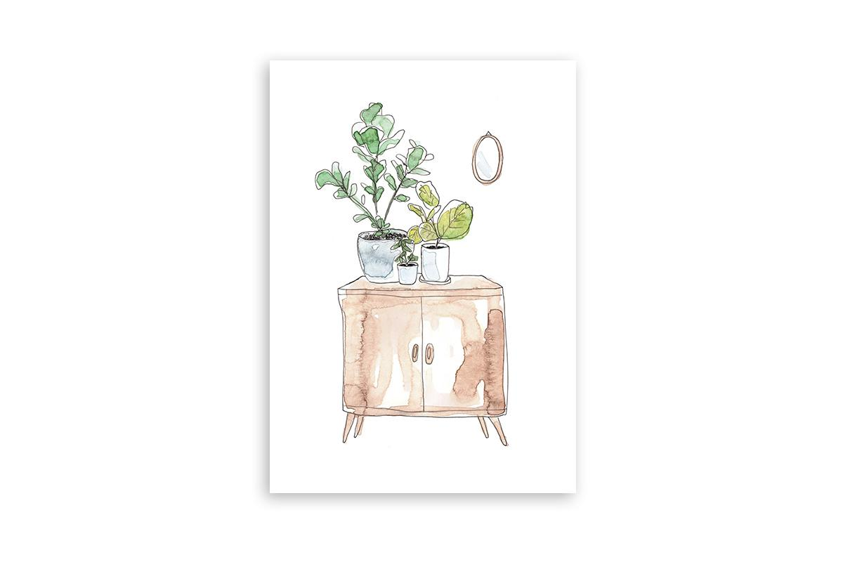 "Postkarte Greenery Aquarell ""Interior"""