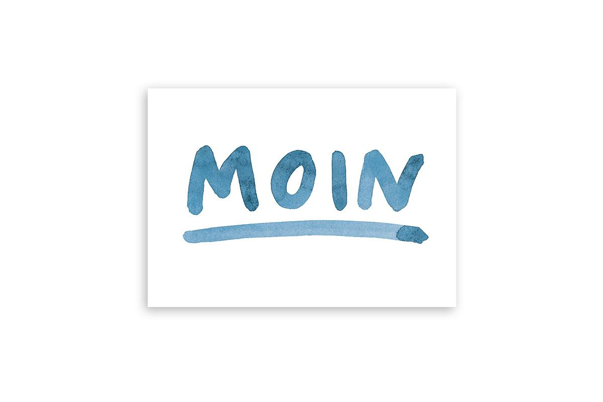 "Postkarte Statement Aquarell ""moin"""