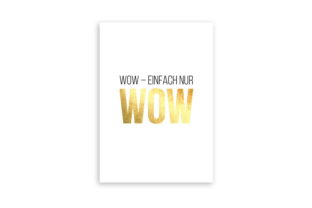 "Postkarte Goldstücke veredelt ""WOW"""