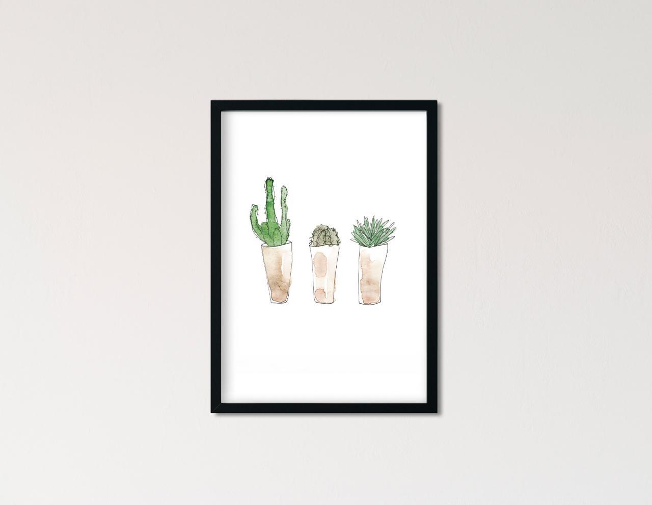 "Poster Greenery Aquarell ""Kaktusliebe"""
