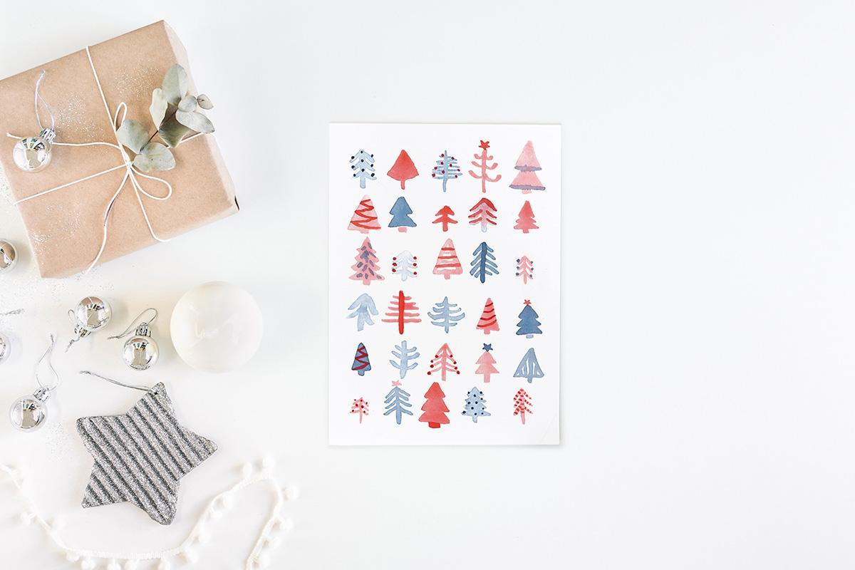 """Postkarte Weihnachten """"Tannenbäume"""""""