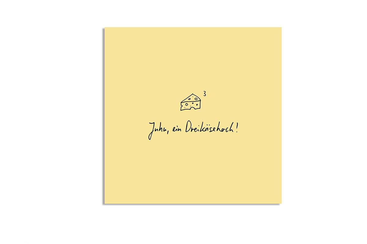 "Postkarte Pastell quadratisch ""Dreikäsehoch"""
