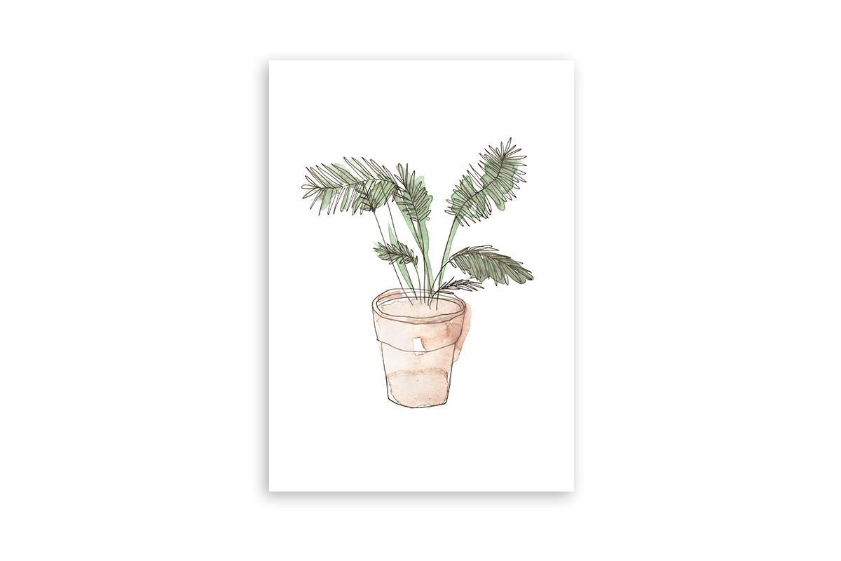"Postkarte Greenery Aquarell ""Palme"""