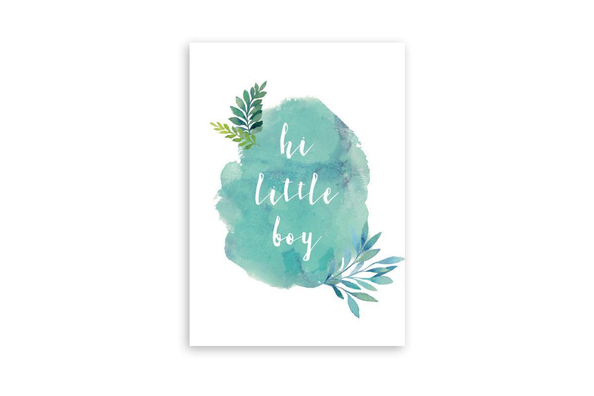 "Postkarte Handlettering ""hi little boy"""