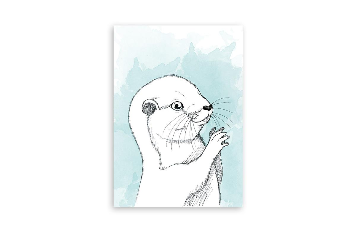 "Postkarte Lieblingstiere Aquarell ""Otter"""