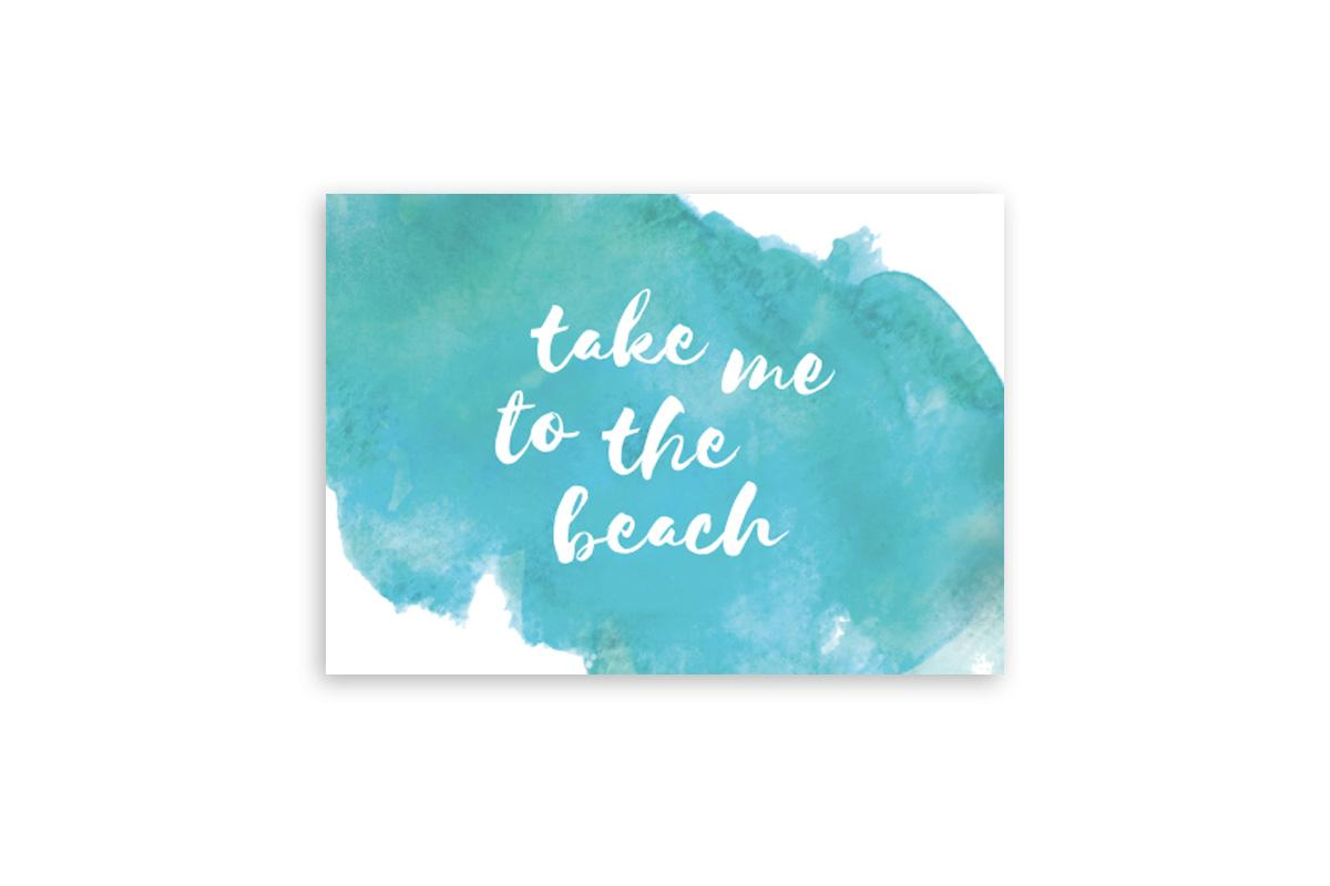 "Postkarte Handlettering ""take me to the beach"""