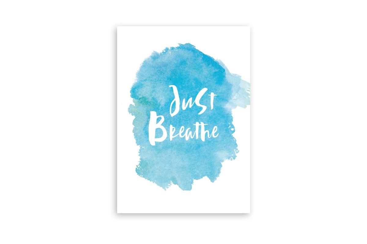 "Postkarte Handlettering ""Just Breathe"""