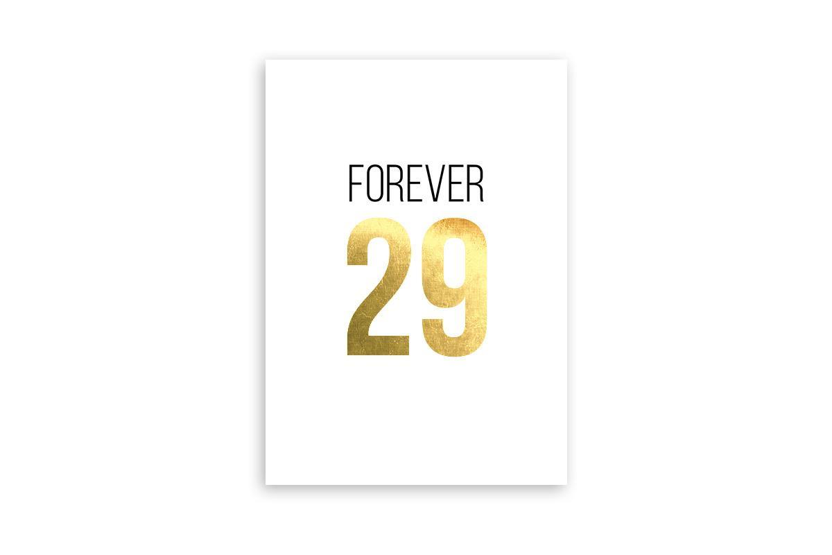 """Postkarte Goldstücke veredelt """"Forever 29"""""""