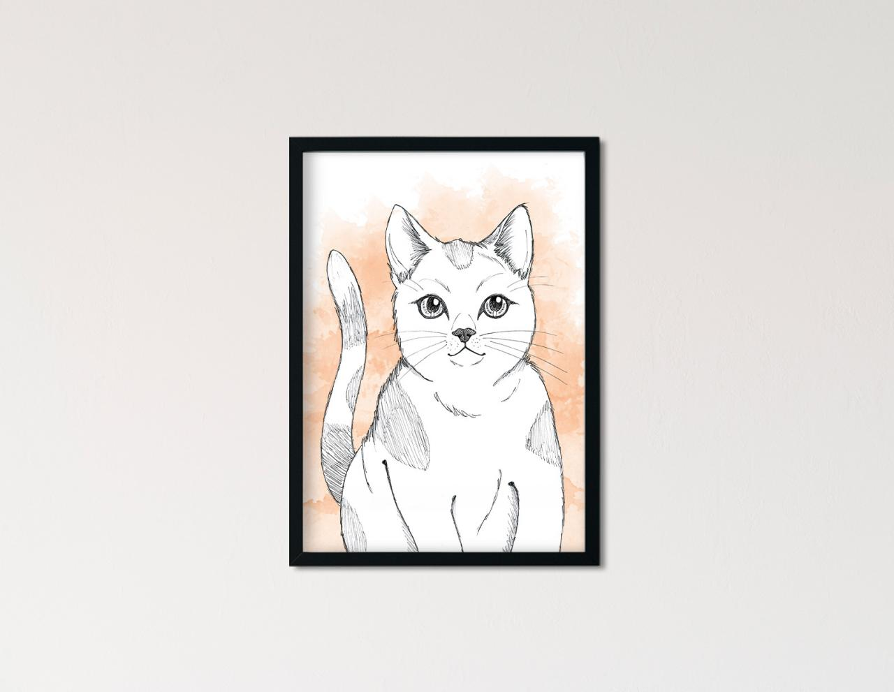 "Poster Lieblingstiere Aquarell ""Katze"""