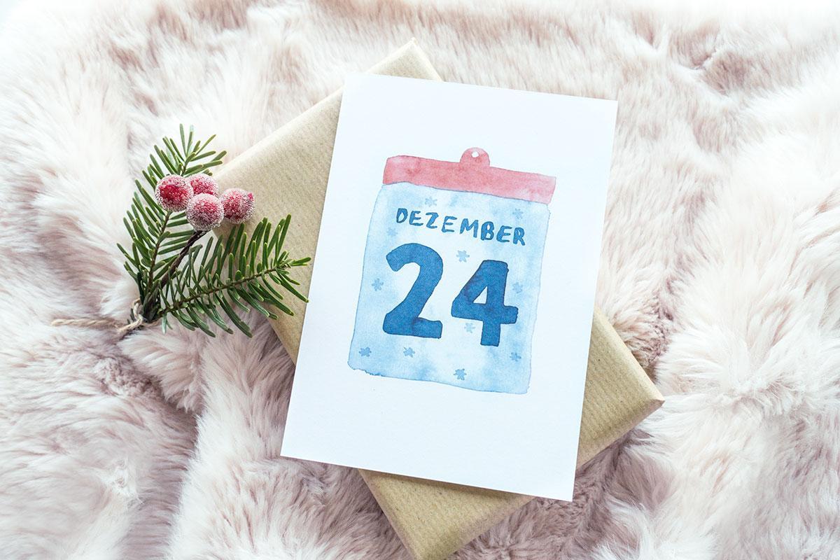 """Postkarte Weihnachten """" 24. Dezember"""""""