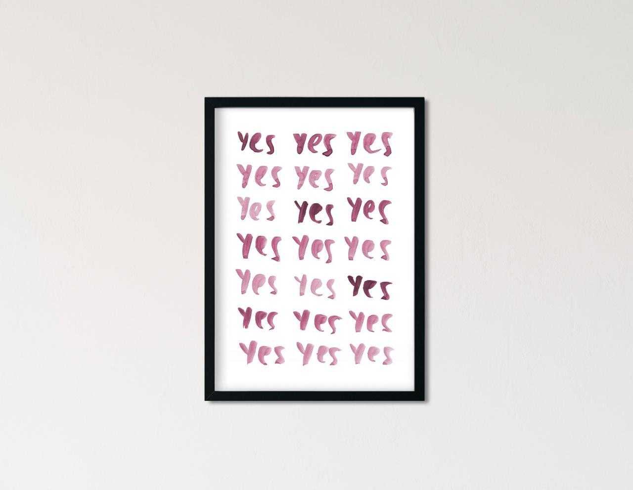 "Poster Statement Aquarell ""yes yes yes"""