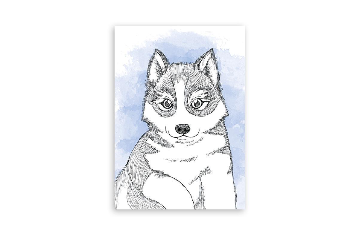 "Postkarte Lieblingstiere Aquarell ""Husky"""