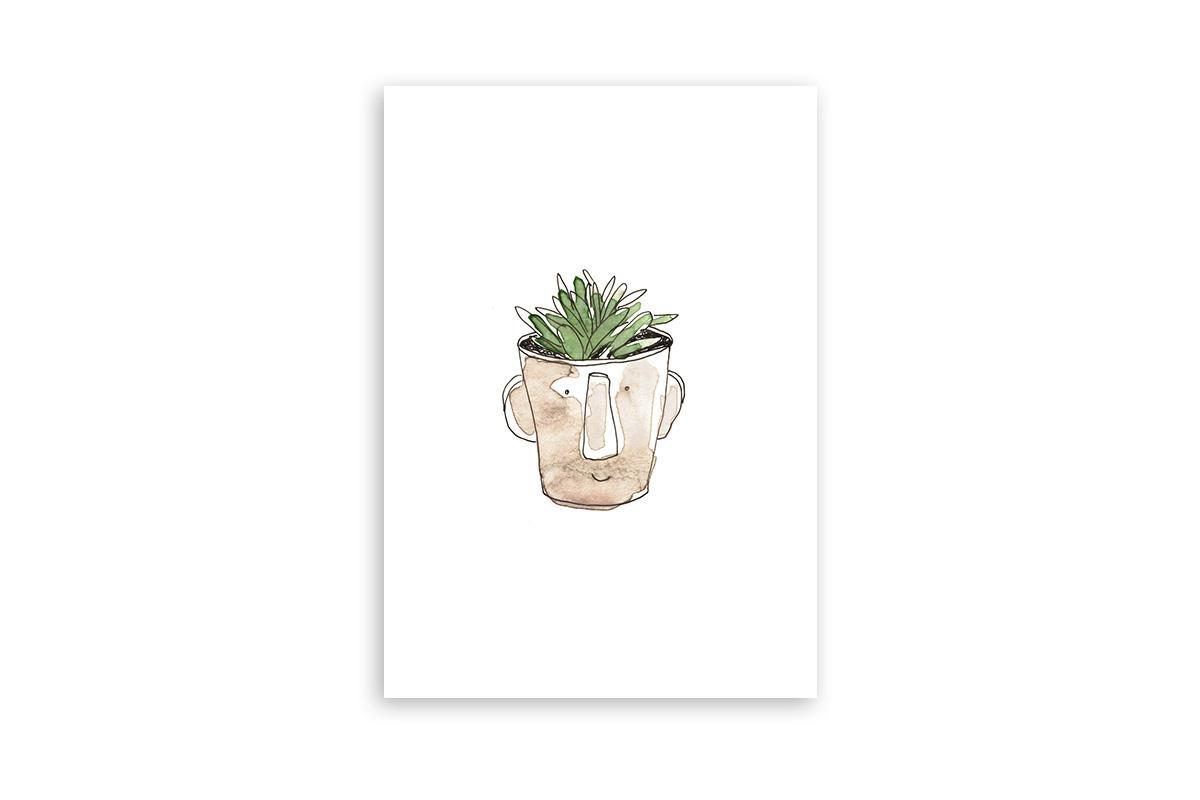 "Postkarte Greenery Aquarell ""Topfgesicht"""