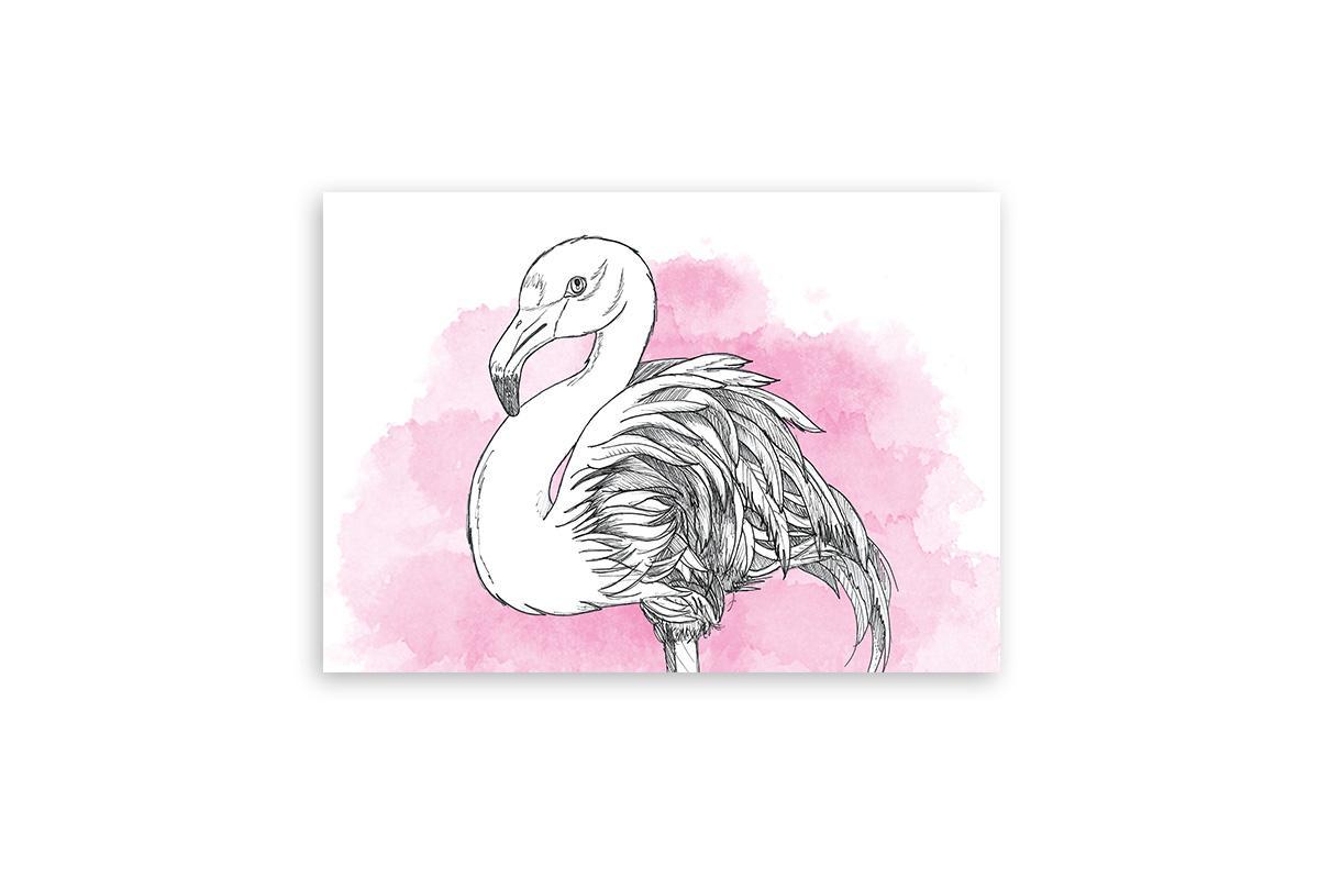 """Postkarte Lieblingstiere Aquarell """"Flamingo"""""""