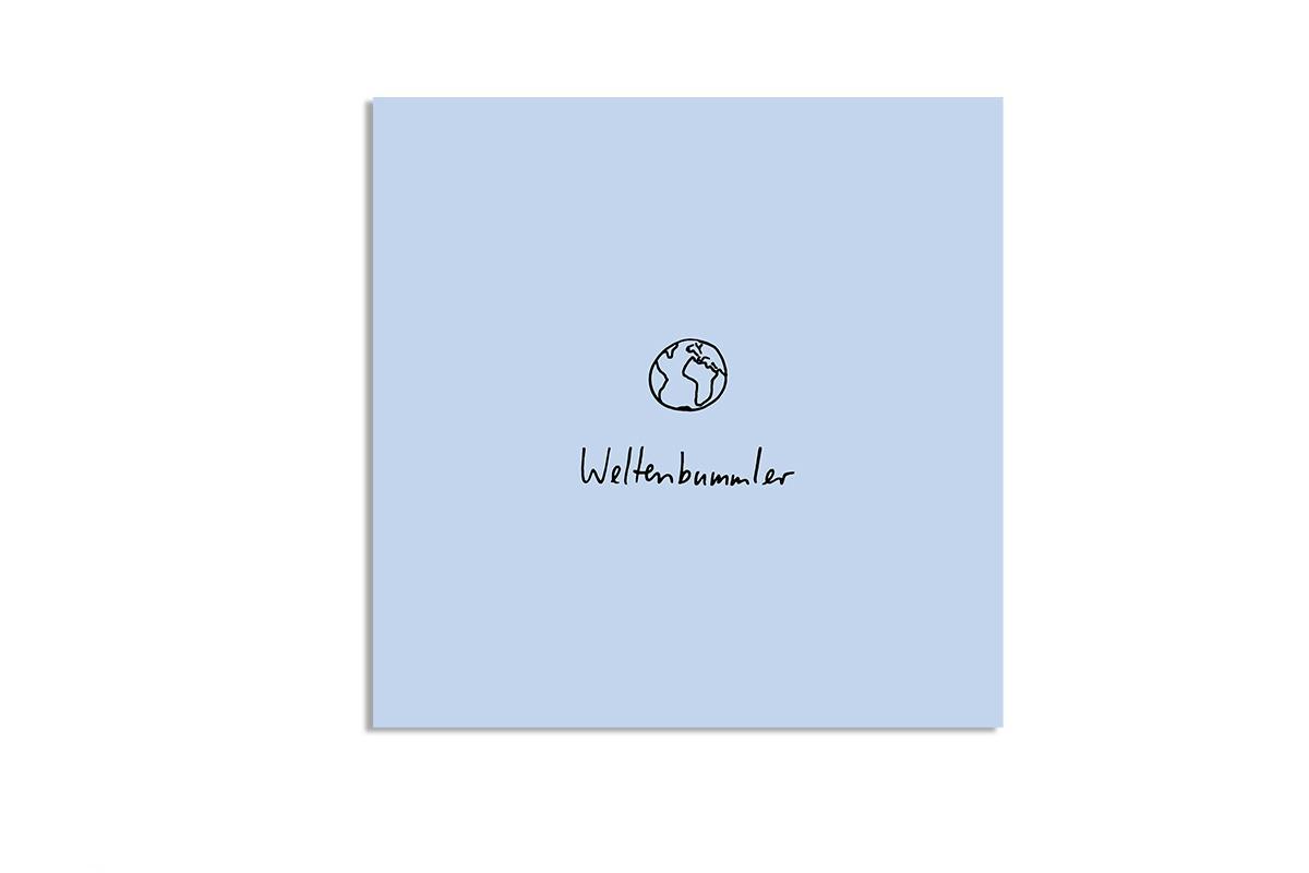 """Postkarte Pastell quadratisch """"Weltenbummler"""""""